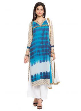Blue Printed Faux Georgette Readymade Salwar Kameez