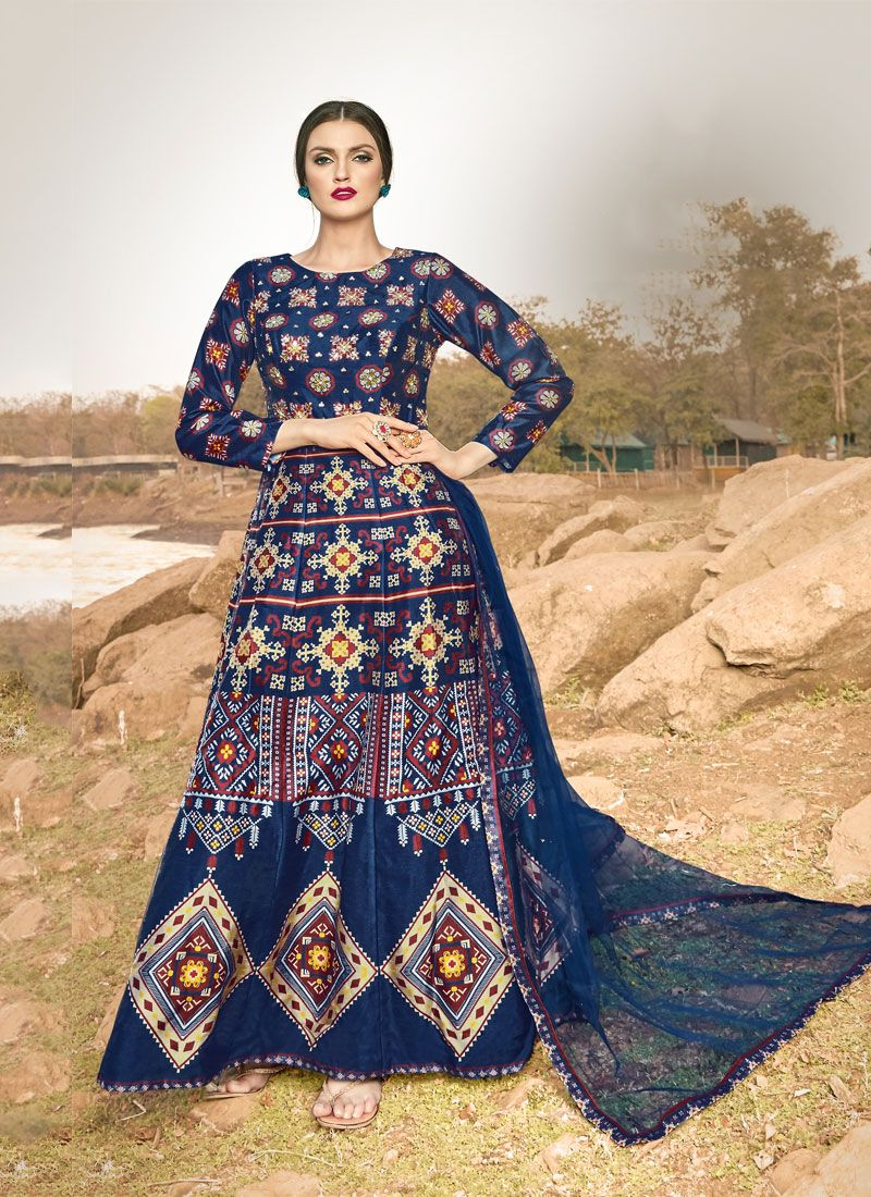 Blue Printed Festival Trendy Gown