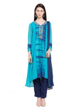 Blue Printed Mehndi Readymade Salwar Kameez