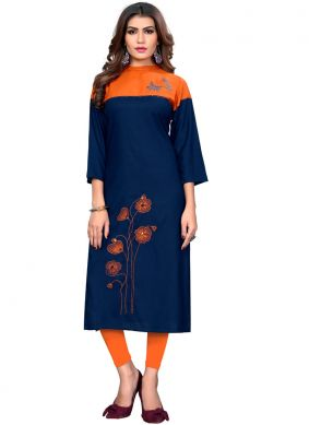 Blue Rayon Festival Party Wear Kurti