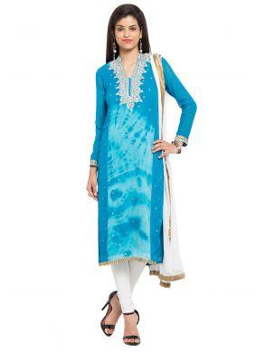 Blue Readymade Churidar Salwar Kameez