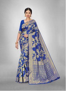 Blue Reception Art Silk Trendy Saree