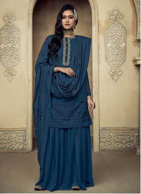 Blue Reception Designer Palazzo Salwar Suit