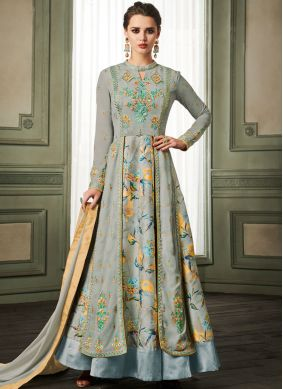 Blue Resham Faux Georgette Readymade Anarkali Suit