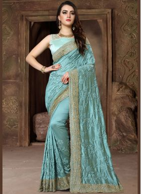 Blue Resham Traditional Designer Saree