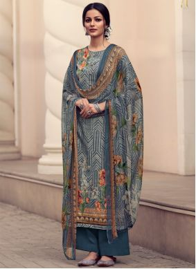 Blue Satin Embroidered Designer Palazzo Suit