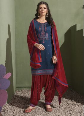 Blue Satin Embroidered Patiala Suit