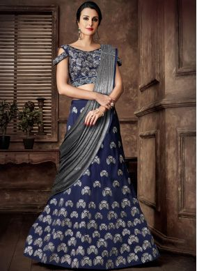 Blue Tafeta Silk Reception Lehenga Style Saree