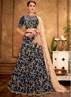 Blue Tafeta Silk Wedding A Line Lehenga Choli