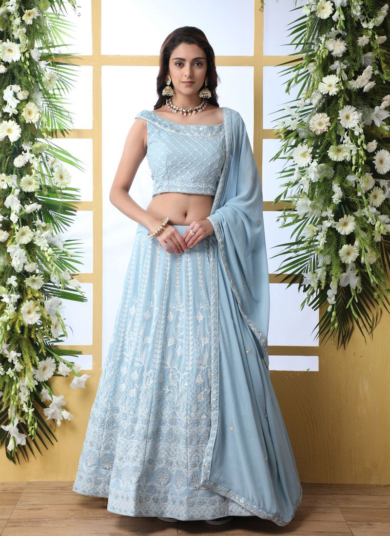 Blue Thread Trendy Lehenga Choli