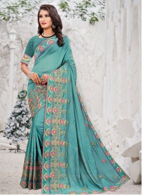 Blue Thread Work Engagement Traditional Saree