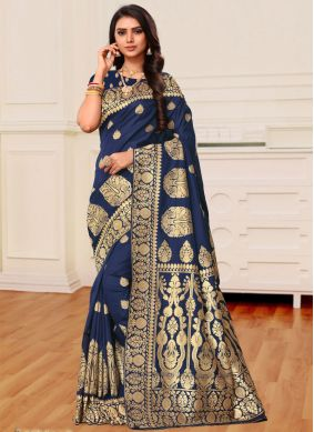 Blue Weaving Banarasi Silk Classic Saree