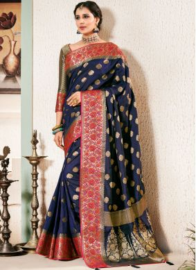 Blue Weaving Classic Saree
