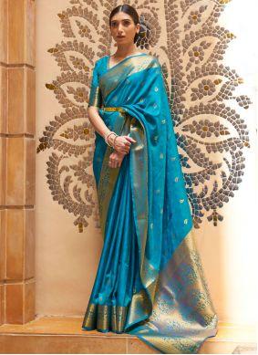 Blue Weaving Kanjivaram Silk Traditional Designer Saree