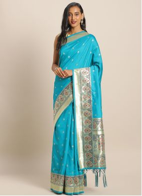 Blue Weaving Party Saree