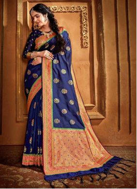 Blue Weaving Saree