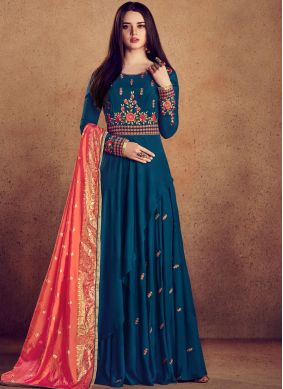 Blue Wedding Rayon Readymade Anarkali Suit