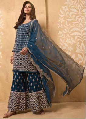 Blue Zari Faux Georgette Designer Palazzo Salwar Kameez