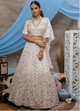 Bollywood Lehenga Choli Sequins Georgette in Off White