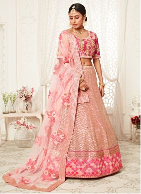 Bollywood Lehenga Choli Sequins Net in Pink