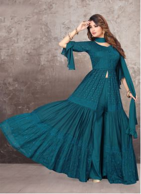 Bollywood Salwar Kameez Embroidered Chinon in Teal