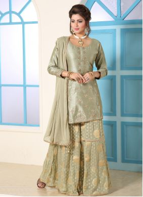 Bollywood Salwar Kameez Embroidered Silk in Green