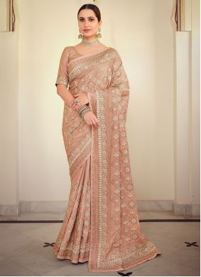 Bollywood Saree Embroidered Georgette Satin in Peach