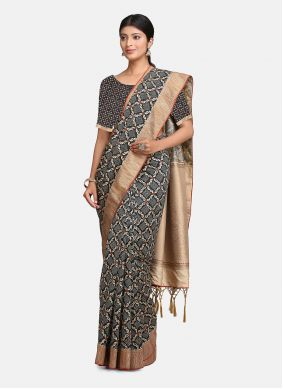 Bollywood Saree Woven Silk in Black and Grey