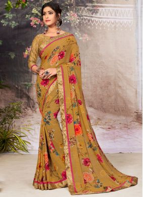 Border Faux Georgette Casual Saree in Brown