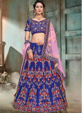 Breathtaking Blue Embroidered Trendy Lehenga Choli
