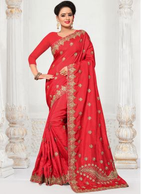 Breathtaking Embroidered Work Silk Traditional  Saree