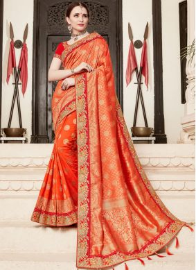 Breathtaking Orange Traditional Designer Saree