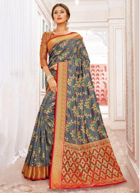 Brilliant Art Silk Weaving Grey Traditional Saree