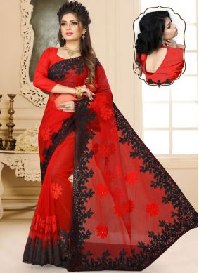 Brilliant Red Reception Classic Designer Saree