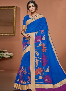 Brilliant Woven Blue Art Silk Traditional Saree
