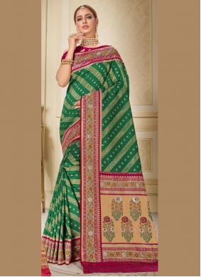Brocade Embroidered Green Traditional Saree
