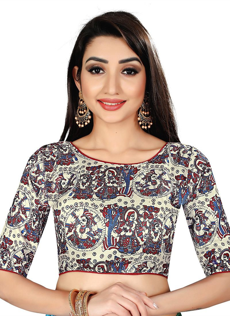 Brocade Print Designer Blouse in Off White