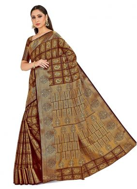 Brown Art Silk Designer Traditional Saree