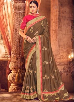 Brown Art Silk Wedding Classic Saree