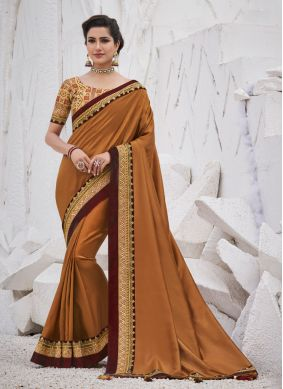 Brown Border Silk Traditional Saree