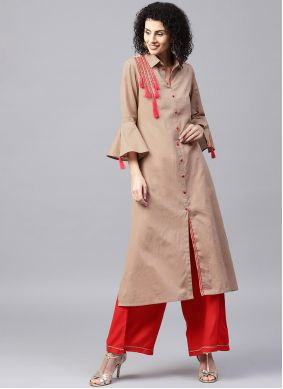 Brown Ceremonial Cotton Party Wear Kurti