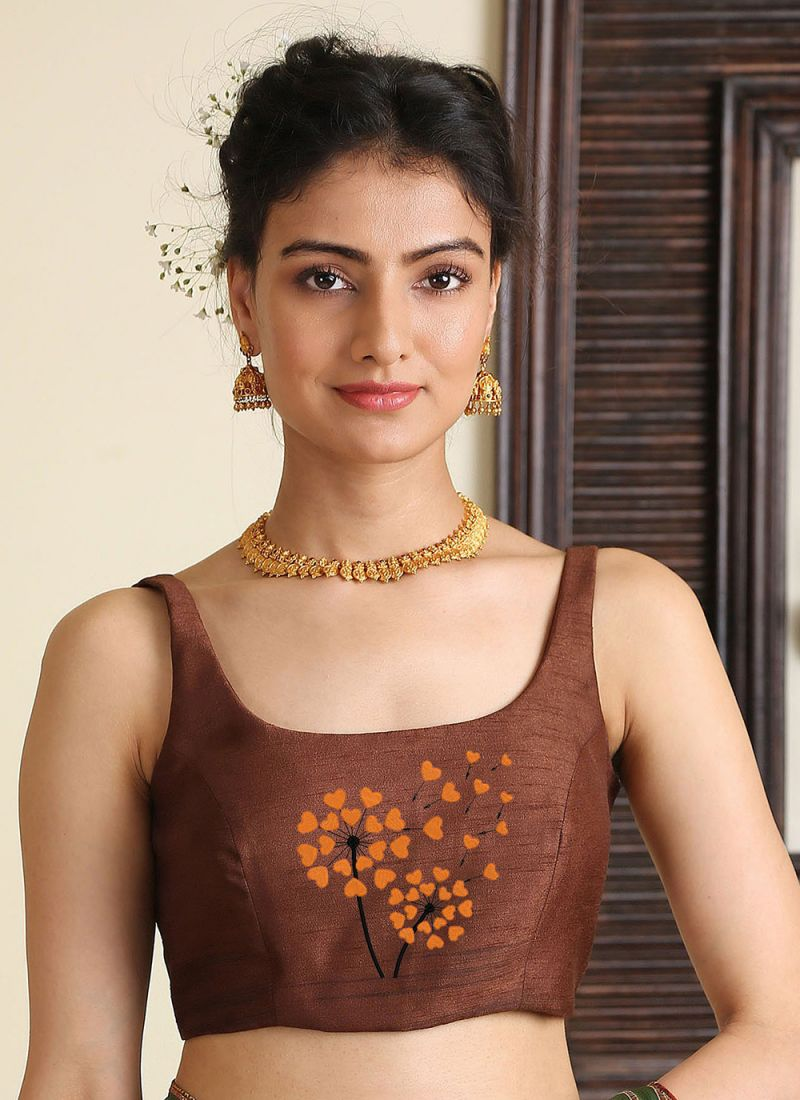 Brown Embroidered Blouse
