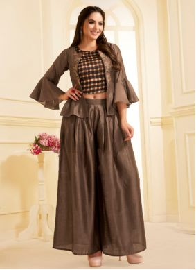 Brown Embroidered Casual Kurti