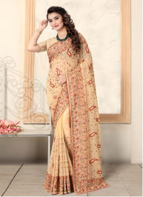 Brown Embroidered Contemporary Saree