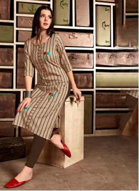 Brown Embroidered Cotton Casual Kurti