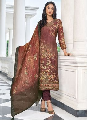 Brown Embroidered Designer Straight Suit