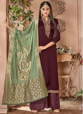 Brown Embroidered Festival Designer Palazzo Suit