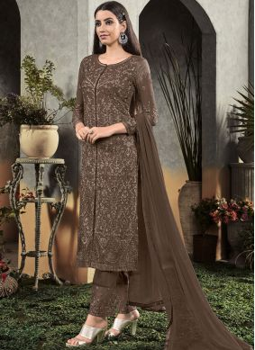 Brown Embroidered Festival Designer Salwar Suit