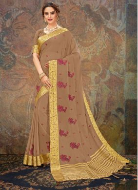 Brown Embroidered Festival Traditional Saree
