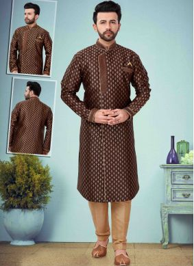Brown Embroidered Indo Western